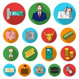 Money and Finance flat icons in set collection for design. Business and Success vector symbol stock web illustration. Stock Photos