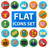 Money and Finance flat icons in set collection for design. Business and Success vector symbol stock web illustration. Money and Finance flat icons in set Royalty Free Stock Images