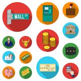 Money and Finance flat icons in set collection for design. Business and Success vector symbol stock web illustration. Money and Finance flat icons in set Stock Photo