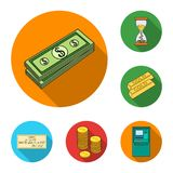 Money and Finance flat icons in set collection for design. Business and Success vector symbol stock web illustration. Money and Finance flat icons in set Stock Photos