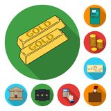 Money and Finance flat icons in set collection for design. Business and Success vector symbol stock web illustration. Money and Finance flat icons in set Royalty Free Stock Image