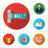 Money and Finance flat icons in set collection for design. Business and Success vector symbol stock web illustration. Money and Finance flat icons in set Royalty Free Stock Photos