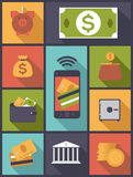 Money and Finance flat icons vector illustration. Vertical flat design illustration with various money and finance symbols Royalty Free Stock Image
