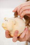 Money, finance. Girl with piggy Royalty Free Stock Photo