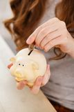 Money, finance. Girl with piggy Royalty Free Stock Images