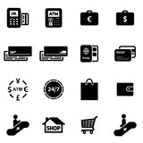 Money and finance icon set flat vector illustration.  Stock Images