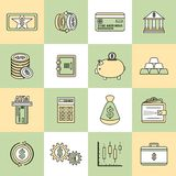 Money finance icons flat line. Bank service money flat line icons set with deposit wealth growth isolated vector illustration Stock Photos