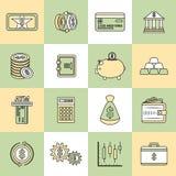 Money finance icons flat line Stock Photos
