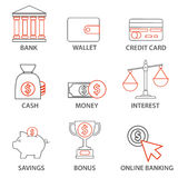Money and Finance Icons. Mono line pictograms and infographics design elements Stock Images