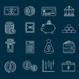 Money finance icons outline stock illustration