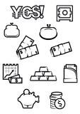 Money and finance icons in outline style Stock Photo