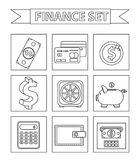 Money and Finance icons set, line style. Collection  on white background. Bank objects and items for Web and. Mobile Application. Vector illustration, clip-art Royalty Free Stock Photos