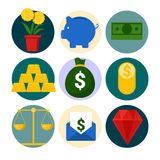 Money and Finance Icons Set with Piggy and Gold Royalty Free Stock Image