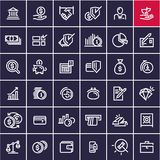 Money and finance line icons set isolated. On black background Royalty Free Stock Photo