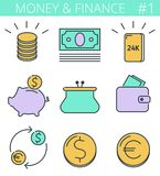 Money and finance line symbols. Vector thin outline icon set. Money, business, finance outline icons: coins stack, gold bullion, piggy bank, wallet. Vector thin Royalty Free Stock Photos