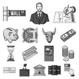 Money and Finance monochrome icons in set collection for design. Business and Success vector symbol stock web. Money and Finance monochrome icons in set Stock Photo