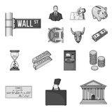 Money and Finance monochrome icons in set collection for design. Business and Success vector symbol stock web. Money and Finance monochrome icons in set Royalty Free Stock Image