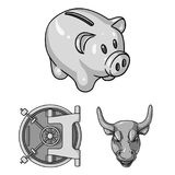 Money and Finance monochrome icons in set collection for design. Business and Success vector symbol stock web. Money and Finance monochrome icons in set Royalty Free Stock Photography