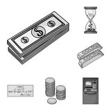 Money and Finance monochrome icons in set collection for design. Business and Success vector symbol stock web. Money and Finance monochrome icons in set Stock Images