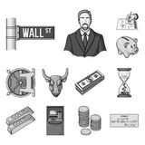 Money and Finance monochrome icons in set collection for design. Business and Success vector symbol stock web. Money and Finance monochrome icons in set Stock Photography