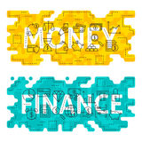 Money Finance Outline Flat Concept Stock Photo