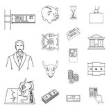 Money and Finance outline icons in set collection for design. Business and Success vector symbol stock web illustration. Money and Finance outline icons in set Royalty Free Stock Images