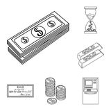 Money and Finance outline icons in set collection for design. Business and Success vector symbol stock web illustration. Money and Finance outline icons in set Stock Images