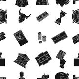 Money and finance pattern icons in black style. Big collection of money and finance vector symbol stock illustration. Money and finance pattern icons in black Royalty Free Stock Photography