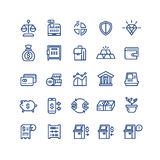 Money finance payments business vector thin line icons set. Banking technology, exchange currency illustration Stock Photos