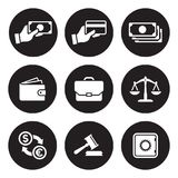 Money, finance, payments icons set. White on a black background Royalty Free Stock Image