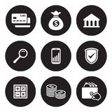 Money, finance, payments icons set. White on a black background Royalty Free Stock Photo