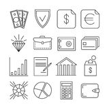 Money finance payments vector thin line icons. Finance payment money and banking exchange money illustration Royalty Free Stock Photos