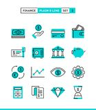 Money, finance, savings...Plain and line icons set, flat design. Vector illustration Royalty Free Stock Images
