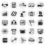 Money and finance set on circles white background. Icons royalty free illustration