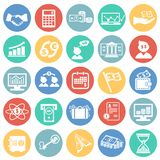 Money and finance set on color circles background. Icons vector illustration