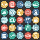 Money and finance set on color circles black background. Icons stock illustration