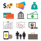 Money finance set icon technology concept vector. Money is what many people take for selling their own things or services Stock Photo