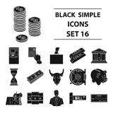 Money and finance set icons in black style. Big collection of money and finance vector symbol stock illustration Stock Photos