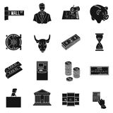 Money and finance set icons in black style. Big collection of money and finance vector symbol stock illustration. Money and finance set icons in black design Royalty Free Stock Photography