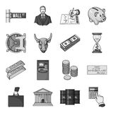 Money and finance set icons in monochrome style. Big collection of money and finance vector symbol stock illustration Royalty Free Stock Photos