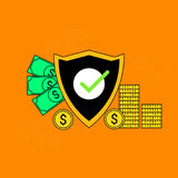 Money and finance shield security Royalty Free Stock Photo