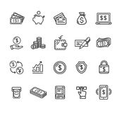 Money Finance Symbols and Signs Black Thin Line Icon Set. Vector Stock Images