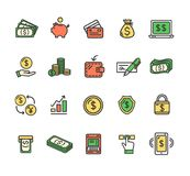 Money Finance Symbols and Signs Color Thin Line Icon Set. Vector. Money Finance Symbols and Signs Color Thin Line Icon Set Include of Mobile, Notebook and Chart Stock Photo