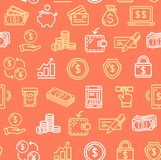 Money Finance Symbols and Signs Pattern Background on a Red. Vector Royalty Free Stock Images