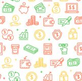 Money Finance Symbols and Signs Pattern Background on a White. Vector. Money Finance Symbols and Signs Pattern Background on a White for Web , Presentation Royalty Free Stock Images