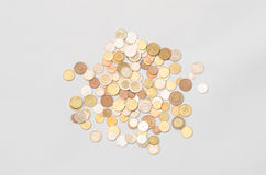 Money and Finance Topic: cash coins are isolated on a white background in the studio a top view Royalty Free Stock Photo