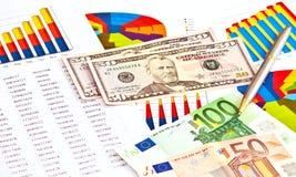 Money, financial graphs Stock Photos