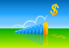 Money & Financial Growth. Golden dollar sign jumping over a progressive bar graph conveying the idea of financial growth, more money and increasing profits stock illustration