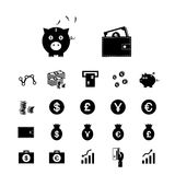 Money and financial icon set Royalty Free Stock Photography