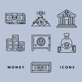 Money and financial institutions topic. Vector icons set of money and finance attributes such as banknotes, coins, strongbox and bank on white background with Stock Photos